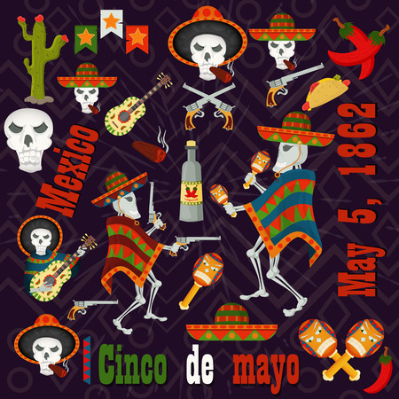 vector set of color illustrations of elements, icons, for design on the Mexican theme of Cinco de mayo celebration in the style of flat