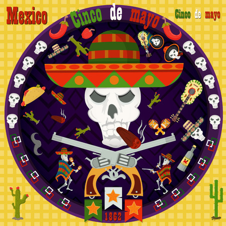 Cinco de mayo, vector circular ornament layout for design postcard, backgrounds, stickers, for registration of the Mexican celebration in the style of flat culture and traditions of the population