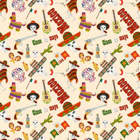 vector seamless pattern illustration in flat style theme celebrating Cinco de mayo, elements of Mexican culture, for book covers, books, fabrics design