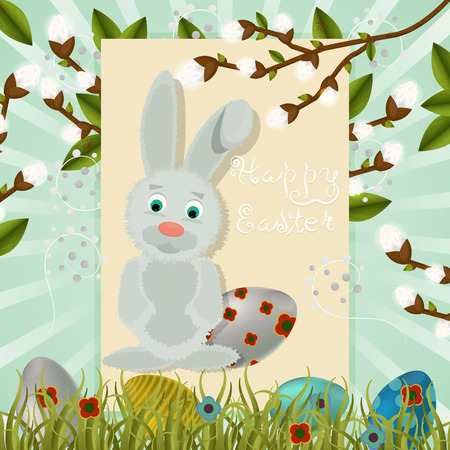layout in vector, greeting Easter card with painted eggs, rabbit foliage and a branch of willow plants