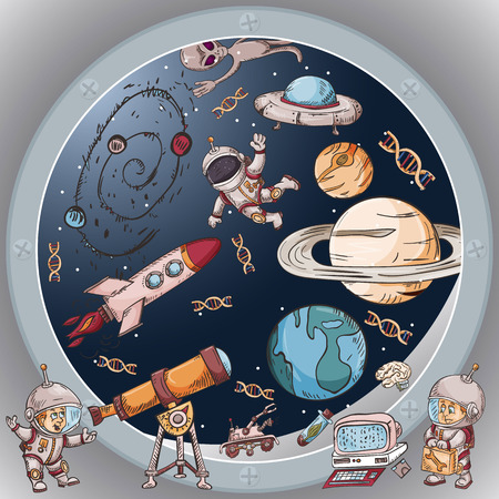 space the view from the window of a spacecraft vector illustration for design and decoration, stickers the covers, in the style of childrens illustration, doodles