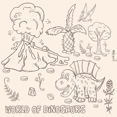contour illustration coloring of small dinosaurs and trees, plants, stones, for design in the style of Doodle vector