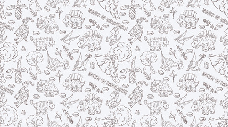 contour seamless illustration pattern of small dinosaurs and trees, plants, stones, for decoration design in Doodle style vector Иллюстрация