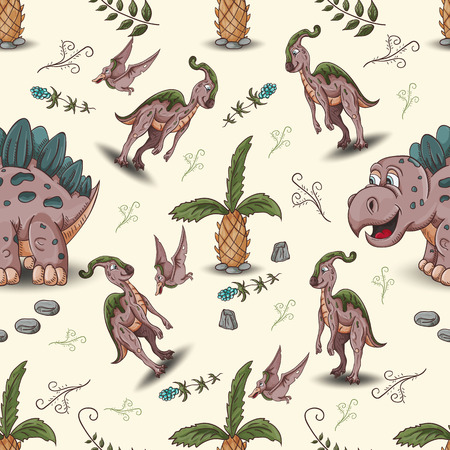 color illustration of a seamless pattern of little dinosaurs and trees, plants, rocks, for registration of a design in Doodle style vector