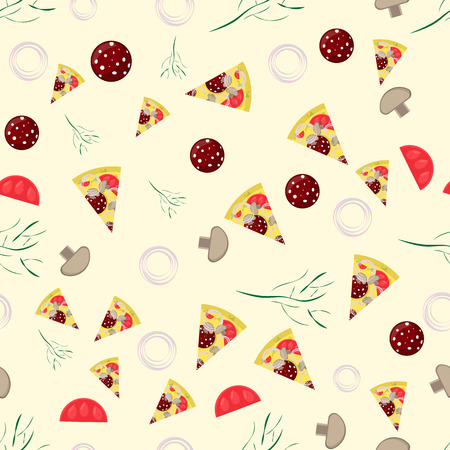 seamless pattern illustration, on the theme of Italian pizza cuisine, for decoration and design of finished food, dish and ingredients Illusztráció