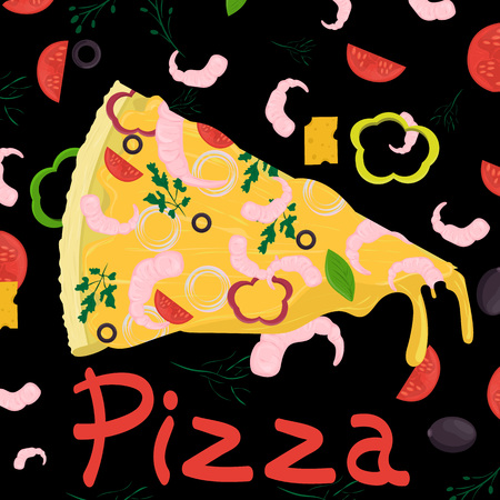 cover background illustration, on the theme of Italian pizza cuisine, for decoration and design vector EPS 10 Stock Illustratie
