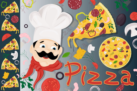 cover background illustration, on the theme of Italian pizza cuisine, for decoration and design sticker of ingredients vector EPS 10