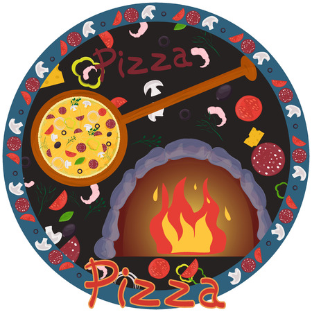 cover background illustration, on the theme of Italian pizza cuisine, for decoration and design sticker of ingredients vector EPS 10 일러스트
