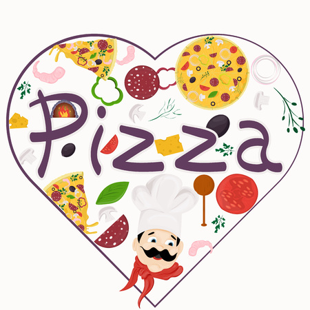 cover background illustration, on the theme of Italian pizza cuisine, for decoration and design sticker of ingredients vector EPS 10 Illustration