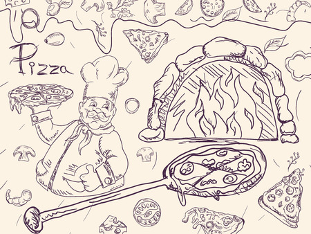 contour cover background illustration, on the theme of Italian pizza cuisine, for decoration and design sticker of ingredients vector EPS 10
