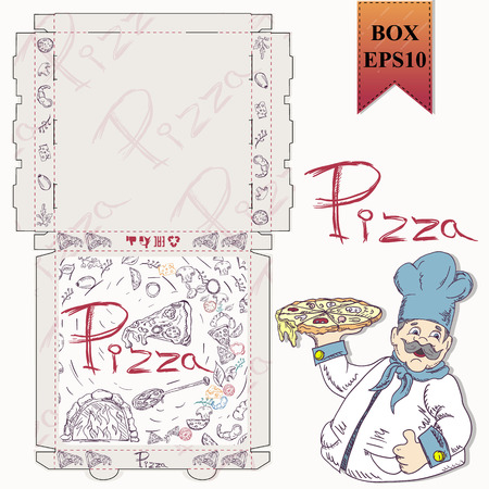 ready made layout of the box for food packaging pizza design in the style of contour drawing depicting the products used for cooking vector