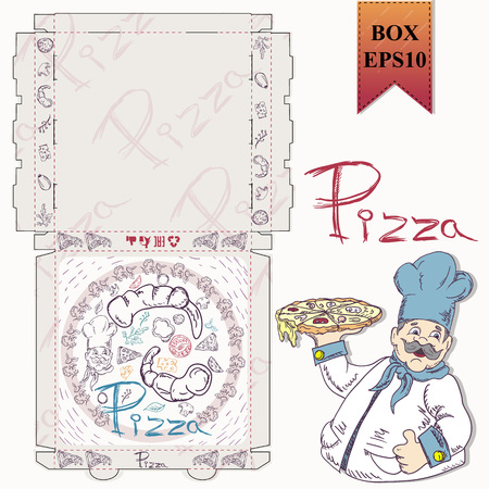 ready made layout of the box for food packaging pizza design in the style of contour drawing depicting the products used for cooking vector EPS10