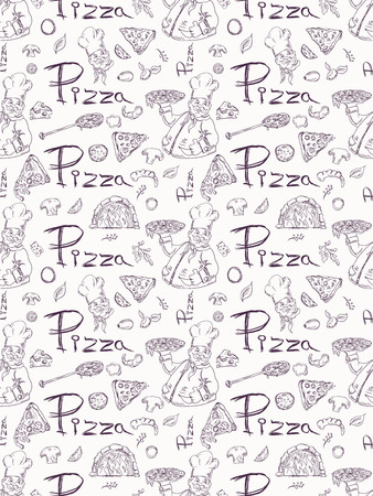 seamless pattern illustration, contour drawing on the theme of Italian pizza cuisine, for decoration and design. Doodle style vector EPS 10