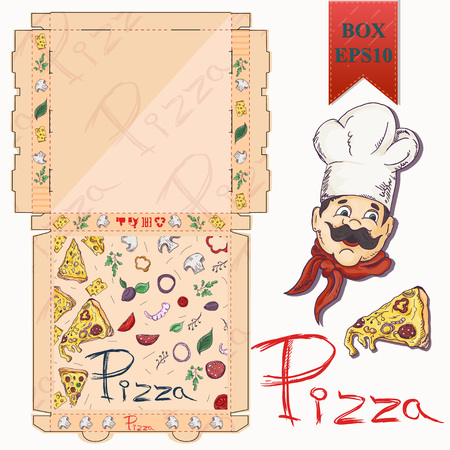 ready made layout of the box, packaging for pizza food design in the style of color contour drawing depicting the products used for cooking vector EPS10 Illustration