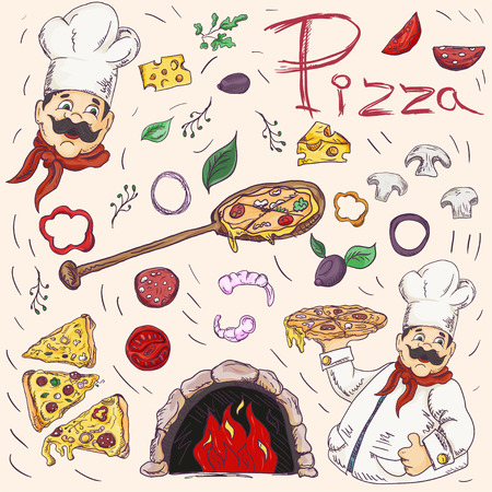 set of color with contour illustrations, on the theme of Italian cuisine pizza, for decoration and design in the style of Doodle vector EPS 10