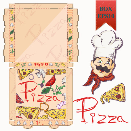 ready made layout of the box, packaging for pizza food design in the style of color contour drawing depicting the products used for cooking vector EPS10 向量圖像