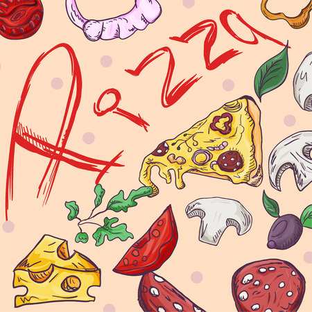 contour color cover background illustration, on the theme of Italian cuisine pizza, for decoration and design sticker of ingredients vector EPS 10 Illustration