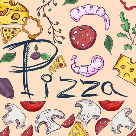 contour color cover background illustration, on the theme of Italian cuisine pizza, for decoration and design sticker of ingredients vector EPS 10 Ilustração