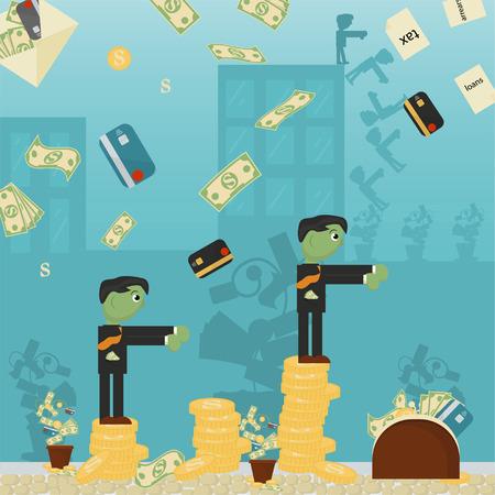 Ilustración plana sobre negocios, préstamos, impuestos y deudas. problema social del hombre zombie del mundo entero dependencia del vector de dinero