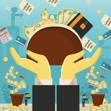illustrazione piatta su affari, prestiti, tasse e debiti. zombie man problema sociale di tutto il mondo dipendenza dal denaro vettore