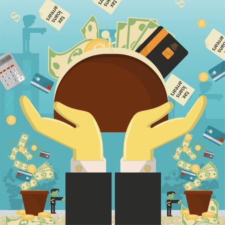 vlakke afbeelding over zaken, leningen, belastingen en schulden. zombie man sociaal probleem van de hele wereld afhankelijkheid van geld vector