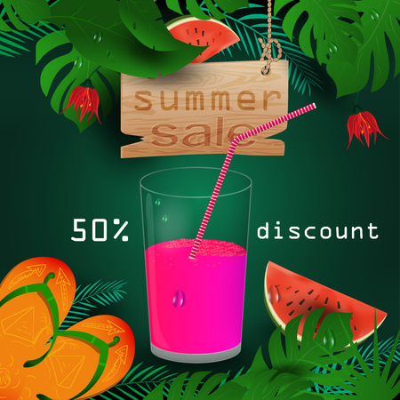 vector background illustration on tropical leaf background, concept design for coupon design, tickets, for sales, discounts and travel during summer vacation, EPS 10 Ilustração