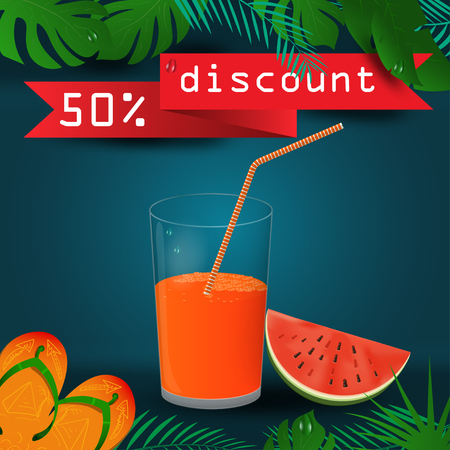 vector background illustration on tropical leaf background, concept design for coupon design, tickets, for sales, discounts and travel during summer vacation, EPS 10 Иллюстрация