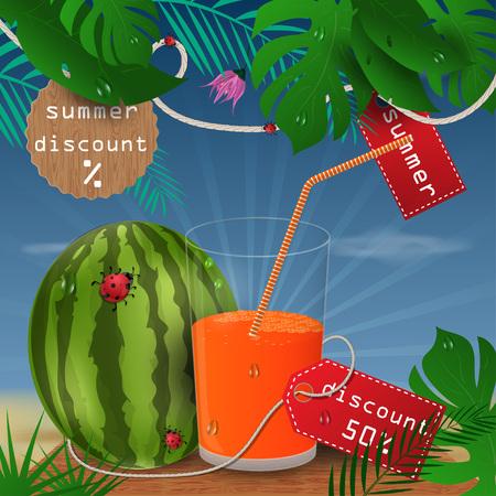 ilustración de fondo de vector sobre fondo de hoja tropical