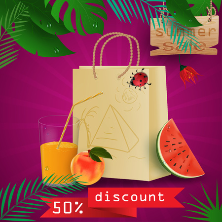 vector background illustration on tropical leaf background