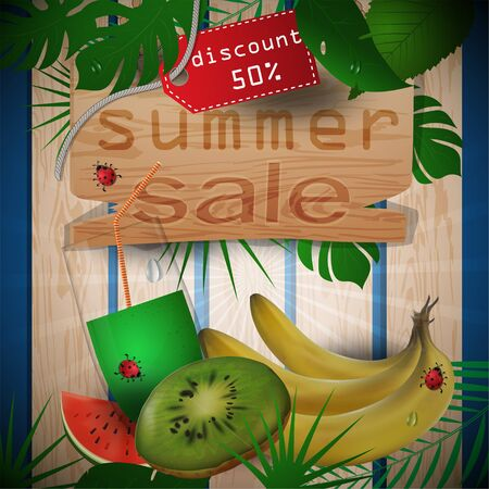 vector illustration of wooden boards, background of leaves, concept design for decoration on the theme of summer drinks with images of fruits, leaves and cups with juice with tags sales, clipping mask EPS 10