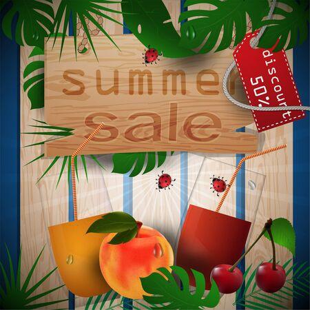 Vektorgrafik von Holzbrettern, Hintergrund von Blättern, Konzeptdesign für die Dekoration zum Thema Sommergetränke mit Bildern von Früchten, Blättern und Tassen mit Saft mit Tags-Verkäufen, Schnittmaske EPS 10 Vektorgrafik