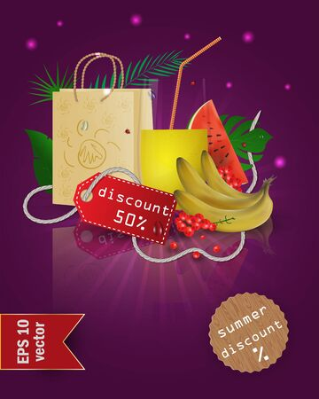 vector illustration of a glass with fruit and berry juice, standing on a mirrored surface among the leaves, with summer tags and discounts, EPS 10