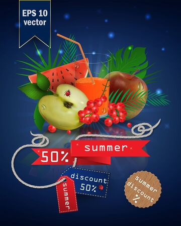 vector illustration of a glass with fruit and berry juice, standing on a mirrored surface among the leaves, with summer tags and discounts