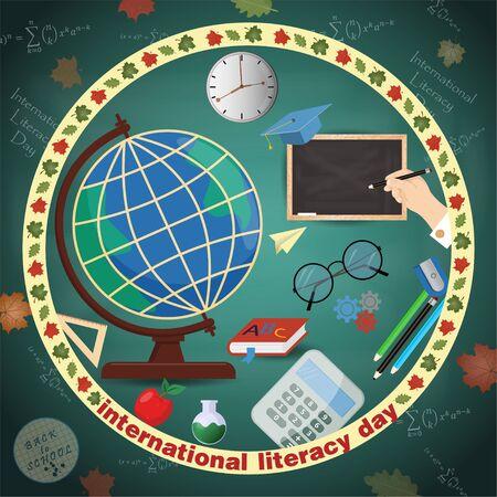 vector illustration design on school theme, international literacy day, back to school, flat style