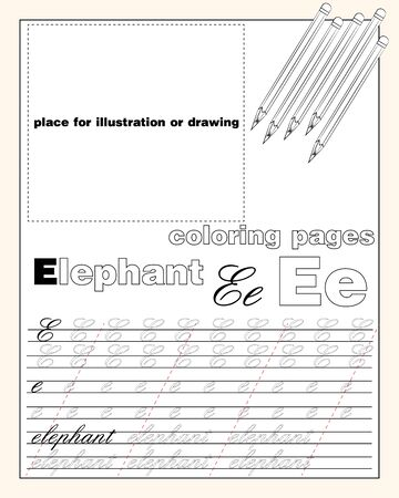 vector design page layout of the English alphabet to teach writing upper and lower case letters with a place to insert an illustration or drawing EPS 10
