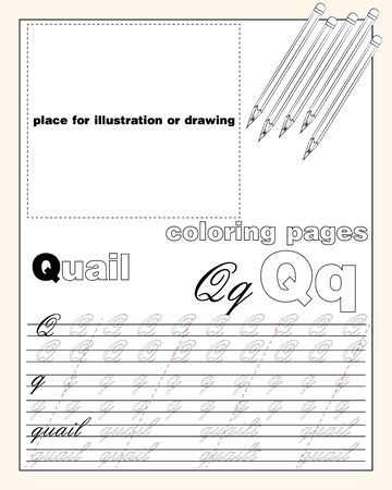 vector design page layout of the English alphabet to teach writing upper and lower case letters with a place to insert an illustration or drawing EPS 10 Ilustração