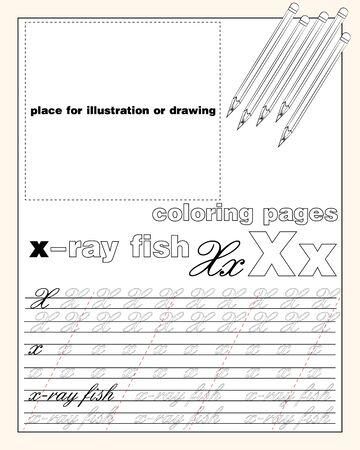 Vektor-Design-Seitenlayout des englischen Alphabets, um das Schreiben von Groß- und Kleinbuchstaben mit einem Platz zum Einfügen einer Illustration oder Zeichnung EPS 10 zu lehren
