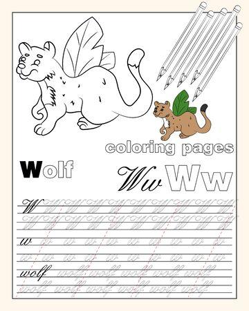 Vektor-Illustration Malvorlagen des englischen Alphabets mit Tierzeichnungen mit Schnur zum Schreiben von englischen Buchstaben EPS 10 Vektorgrafik