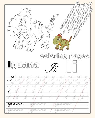 vector illustration coloring page of English alphabet with animal drawings with string for writing English letters EPS 10 Illustration