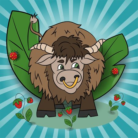 vector childrens illustration of a Yak standing in a clearing among the raspberries among the foliage EPS 10 Ilustração