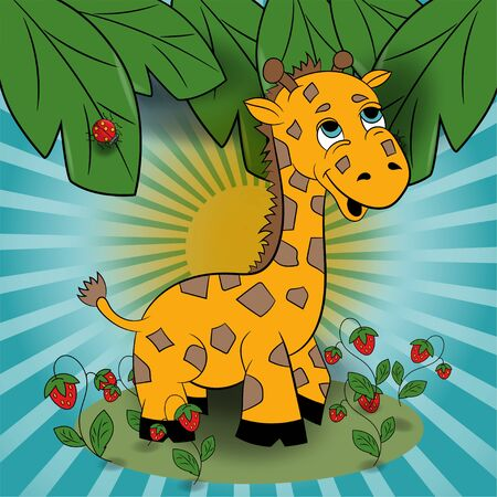 children vector illustration of little giraffe in a clearing among the raspberries among the foliage EPS 10
