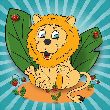 vector childrens illustration of a little lion in a clearing among the raspberry leaves EPS 10