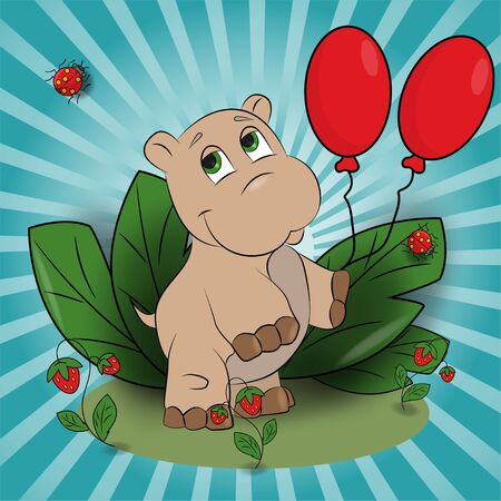 vector childrens illustration of a small Hippo with balloons in a clearing among the raspberries among the leaves EPS 10 Ilustração