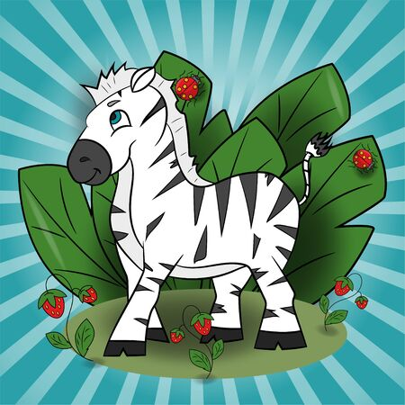 children vector illustration of little Zebra in a clearing among the raspberries among the foliage EPS 10