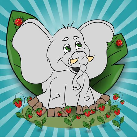 vector childrens illustration of a small elephant sitting in a clearing among the raspberries among the leaves EPS 10 Illustration