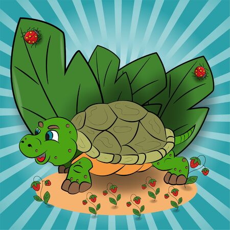 vector childrens illustration of a small turtle in a clearing among the raspberry leaves EPS 10