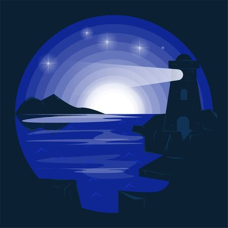 vector illustration in negative color lighthouse by the sea style flat design for stickers and banners. Illustration