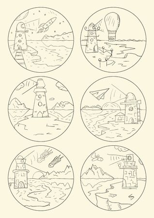 set illustration outline, coloring lighthouse on land by the sea design for stickers and banners,kids Doodle style, vector. Stock Illustratie