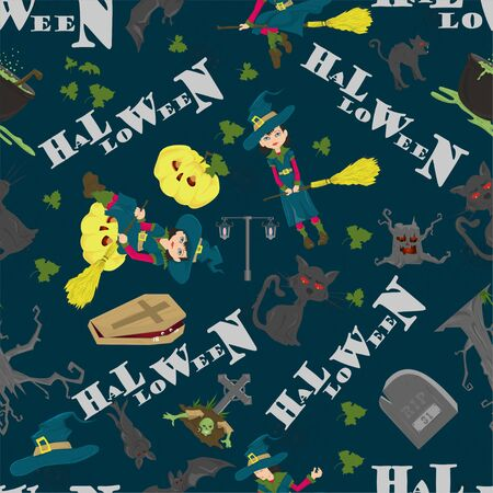 Halloween seamless pattern in the style of childrens illustration, for registration of a design at a gala event vector EPS 10