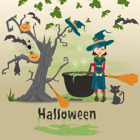 childrens illustration in the style of flat, on the eve of all saints day, Halloween, scary tree, a cauldron with a potion and there is a witch vector EPS 10 Stock Illustratie
